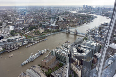 Great Britain, Endland, London, Southwark, View from The Shard to Tower Bridge and War ship HMS Belfast - WEF000137