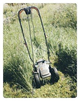 Germany, North Rhine-Westphalia, Petershagen, Mowing grasses with high on electric lawn mower. - HAWF000296