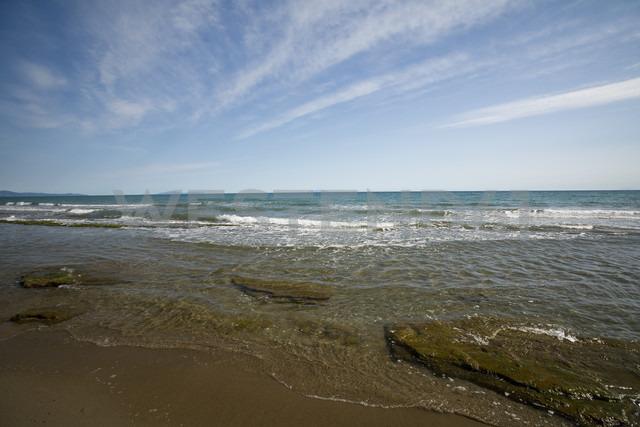 Italy, Tuscany, Castiglione della Pescaia, Beach and Island Elba in the background - MYF000417