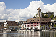 Switzerland, Canton of Schaffhausen, View of Schaffhausen with Munot Castle, High Rhine river - WIF000781