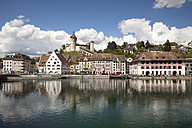 Switzerland, Canton of Schaffhausen, View of Schaffhausen with Munot Castle, High Rhine river - WIF000783