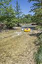 USA, Texas, Children tubing the Frio River - ABAF001399