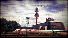 Hannover main station with ICE and VW-tower, Germany, Lower Saxony, Hannover - HOH000871