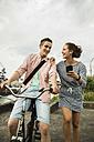 Young couple with bicycle - UUF001036