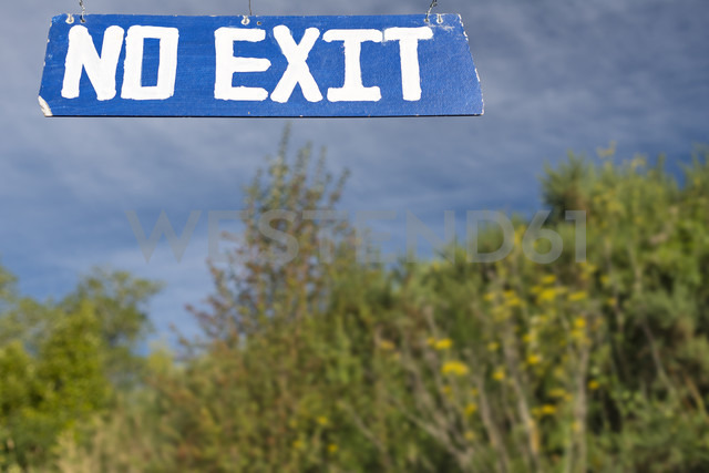 New Zealand, Nelson, no exit sign and shrub - SHF001421