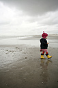 Netherlands, Rotterdam, little girl with red cap and yellow rubber boots walking on the wet sandy beach - SAF000013
