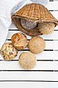 Germany, Different whole meal bread rolls and bread basket - LVF001451