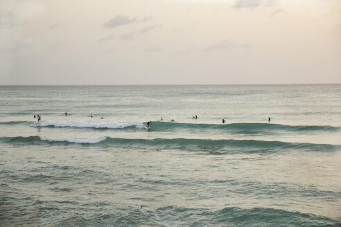 Caribbean, Barbados, surfers at sundown - SK001588