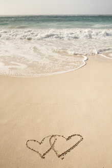 Caribbean, Barbados, Silver Sands beach, two hearts in the sand - SKF001557