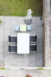 Germany, terrace with garden furniture, view from above - DR000698