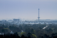 Germany, Berlin, View from Drachenberg to Charlottenburg with Berlin radio tower in the evening - BIG000004