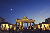 Germany, Berlin, Berlin-Mitte, Brandenburg Gate, Blue hour - ZMF000309