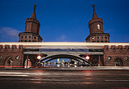 Germany, Berlin, Friedrichshain-Kreuzberg, Oberbaum Bridge, Light Trail - ZMF000315