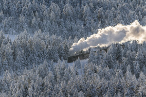 Germany, Saxony-Anhalt, Harz National Park, Brocken, Harz Narrow Gauge Railway in winter - PVC000020