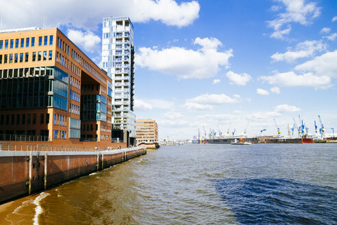 Germany, Hamburg, Port of Hamburg, Modern Office building at Elbe river - KRPF000571