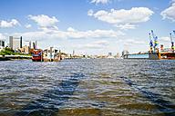 Germany, Hamburg, Port of Hamburg, Elbe river and city view - KRP000573
