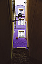 Italy, Sarinia, Bosa, Old town, Alley, House, Purple facade - MBEF001042