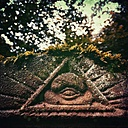 Eye of Providence on weathered grave, Wuppertal, Germany - DWIF000097