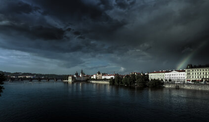 Czech Republic, Prague, cityscape with Vltava with thunderclouds - AMF002471