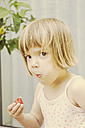 Portrait of little girl eating strawberry - LVF001486