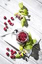 Homemade raspberry jam and raspberries, Rubus idaeus - MAEF008543