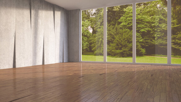 Empty room with concrete wall and wooden flooring, 3D Rendering - UWF000116