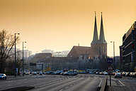 Germany, Berlin, Berlin-Mitte, view to St Nicholas church at sunset - BIG000019