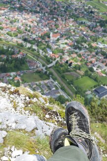 Germany, Bavaria, Oberammergau, hiker's shoes on Kofel mountain above the town - MHF000316