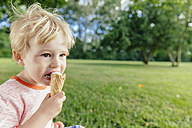 Germany, North Rhine-Westphalia, Bonn, blonde male toddler eating icecream - MFF001138
