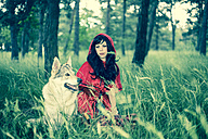 Red Riding Hood sitting besides the wolf - FCF000275
