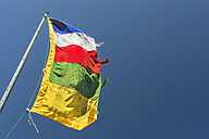 New Zealand, Nelson, Tibetan prayer flag flying in the wind - SHF001538