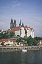 Germany, Saxony, Meissen, Albrechtsburg castle with twin towers of cathedral in background - ELF001116