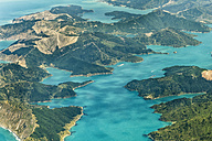 New Zealand, South Island, Marlborough Sounds, aerial photograph of the fjords near Queen Charlotte Sound - SHF001568
