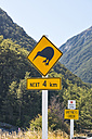 New Zealand, South Island, Waimakariri River, warning road sign for Kiwi birds at Greyneys Creek - SHF001558