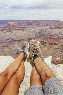 USA, Arizona, couple enjoying the view at Grand Canyon, partial view - MBEF001102