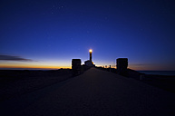Spain, Balearic Islands, Menorca, Cap de Cavalleria, lighthouse at sunrise - SMA000217