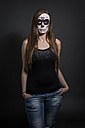 Portrait of woman with skull make-up, studio-shot - STB000187