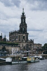 Germany, Saxony, Dresden, view to court church with Elbe River in the foreground - EL001135