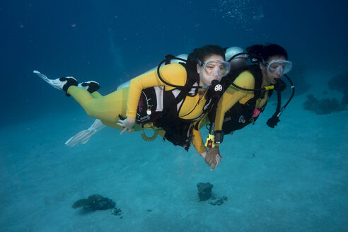 Palau, Pacific Ocean, two scuba divers in coral reef - JWAF000156