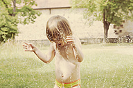 Portrait of little girl having fun with lawn sprinkler in the garten - LVF001580