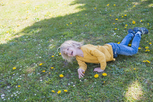 Laughing boy lying in meadow - MJF001301
