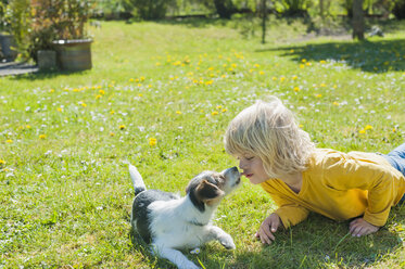 Boy playing with Jack Russel Terrier puppy in garden - MJF001315