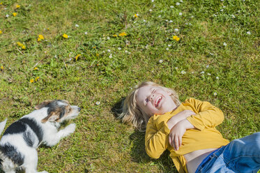 Boy playing with Jack Russel Terrier puppy in garden - MJF001316