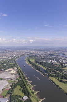 Germany, Duesseldorf, aerial photo of city and River Rhine - THAF000499