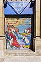 Spain, Barcelona, Sant Pere, graffiti at gate - THA000522