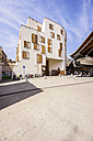 Spain, Barcelona, Sant Pere, house front and entrance to market hall - THAF000528