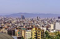 Spain, Barcelona, cityscape from Palau Nacional on Sagrada Familia - THAF000568