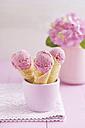 Raspberry icecream in homemade ice cream cones - ECF000699