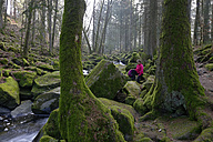 Germany, Bavaria, Lower Bavaria, Bavarian Forest, Waldkirchen, Saussbach gorge, Female hiker - LB000817