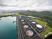 Caribbean, St. Lucia, Castries, aerial photo of oil tanks at the coast - AM002520
